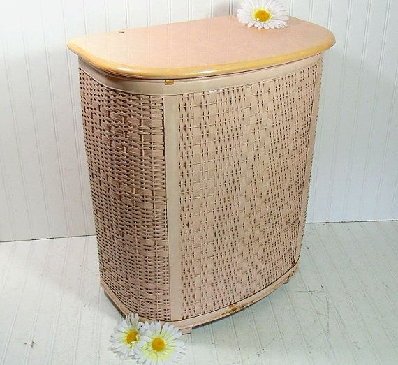 Vintage oversized salmon pink wicker clothes hamper retro mid century large pearl wick - Wicker clothes hamper ...