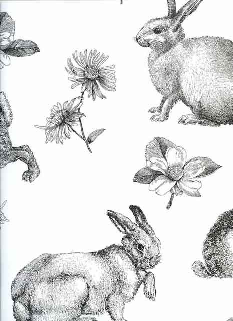 Contemporary Retro Vintage Wallpaper Rabbits Hares Animals Kitchen Shabby Chic | eBay