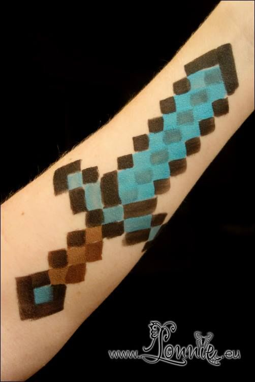 Diamond Sword; face painting station @ minecraft party