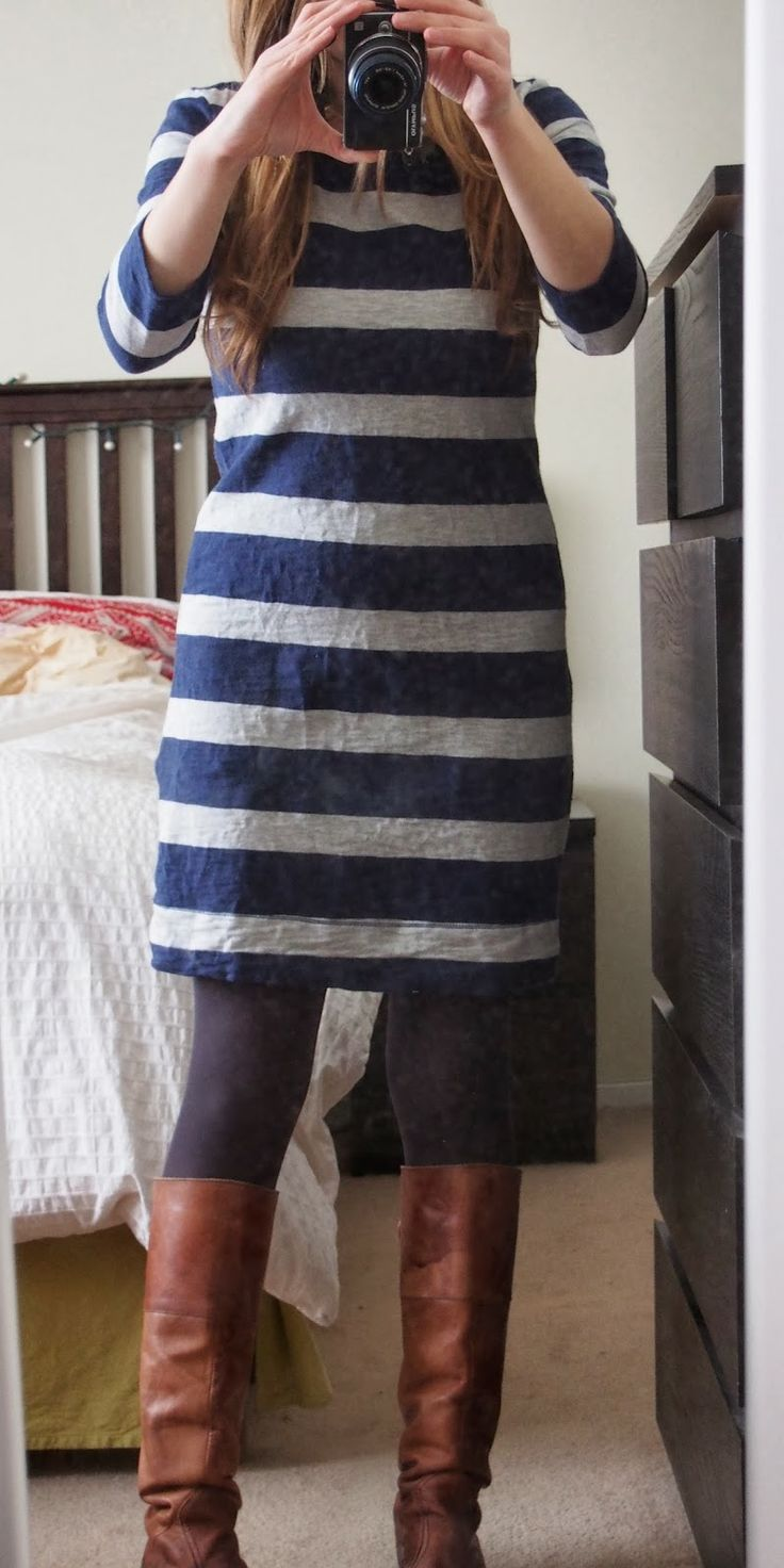 striped dress with boots