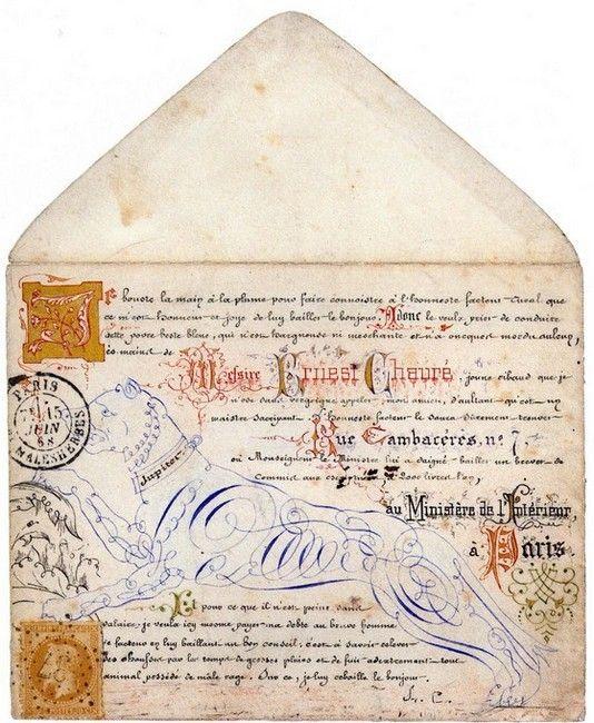 Calligraphies et enluminures sur enveloppe. 1868.: Ephemera, Mailart, Old Letters, Calligraphy Art, Illuminated Letters, Vintage Charms, Envelopes Art, Snails Mail, Mail Art