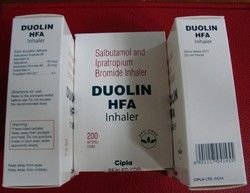 We offer Duolin CFC Free Inhaler that is also known by the name Combivent. Each dosage contains levosalbutamol and ipratropium bromide in standard quantities. The casing of the inhaler has been manufactured using standard quality plastic and the medicine is kept pressurized in a canister. These are made available by us at standard market prices. They are tested on several parameters before being made available for sale to the customers.  Specifications:  Molecule name: Ipratropium bromide 20…