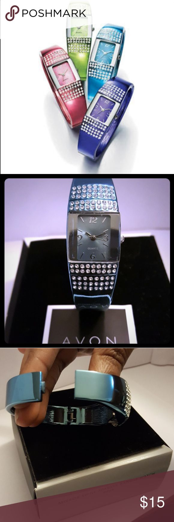 AVON Mirror Shine Sparkle Bangle Watch Wow them with style when you wear this dazzling Mirror Shine Sparkle Bangle Watch by AVON! It features a rectangular face adorn with 80 diamondesque rhinestones!!! The watch has a spring-loaded hinge opening for easy on and easy off! Questions?? Please feel free to ask! Happy Poshing!   **BRAND NEW**  Available Color Choices: -blue -pink Avon Accessories Watches