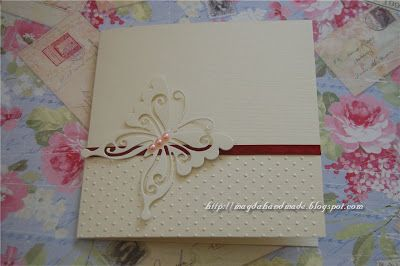 Wedding Invitation with butterfly and Pink Pearls