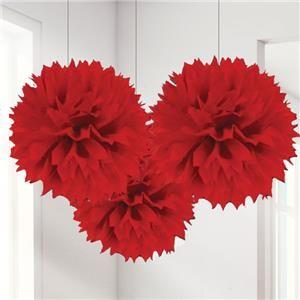 Red Pom Pom Decorations - 40cm