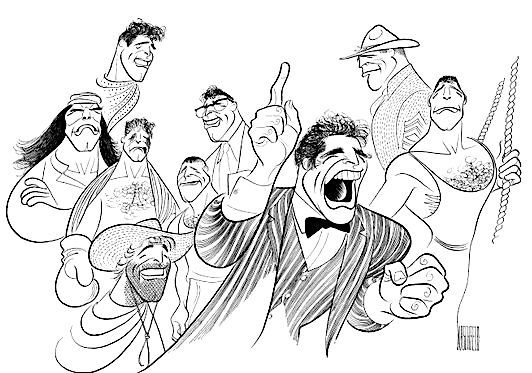 'burt lancaster in hallelujah trail, trapeze, the unforgiven, elmer gantry, the flame and the arrow, the young savages and the sweet smell of success' by al hirschfeld