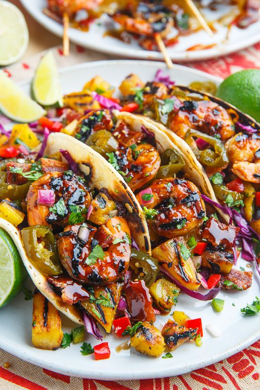 Teriyaki Grilled Shrimp and Pineapple Tacos with Candied Jalapeno and Bacon | Closet Cooking | Bloglovin'
