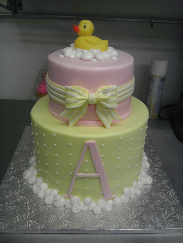 Ducky And Bubbles Girl Baby Shower Cake Cakes Pinterest
