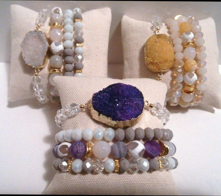 10 WHOLESALE GEMSTONE AGATE CRYSTAL DRUZY BEAD BRACELET STACK SETS JEWELRY BLING #Handmade #Statement