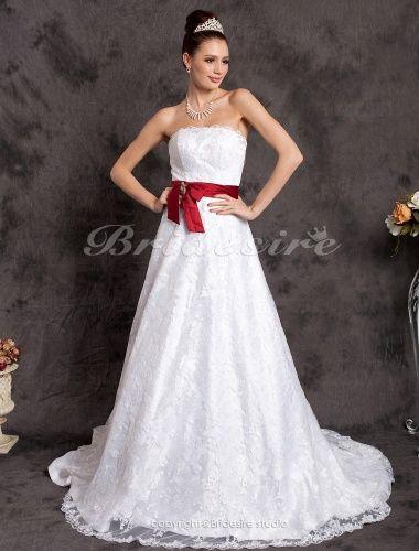 Bridesire - Trapezio Belt Strascico di corte Pizzo Raso A cuore Abito da sposa [165067] - €190.33 : Bridesire