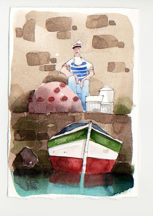 Pescatore - Fisherman - - Gianluigi Punzo - Naples - Napoli - Italy - Italia - Watercolor - Acquerello - Aquarelle - Acuarela