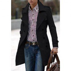 $23.83 Korean Turndown Collar Solid Color Double-Breasted Long Sleeves Polyester Pea Coat For Men