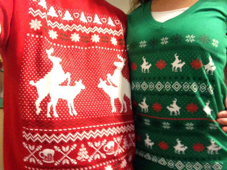 Coordinating couples ugly sweater attire [thank you #spencers ]