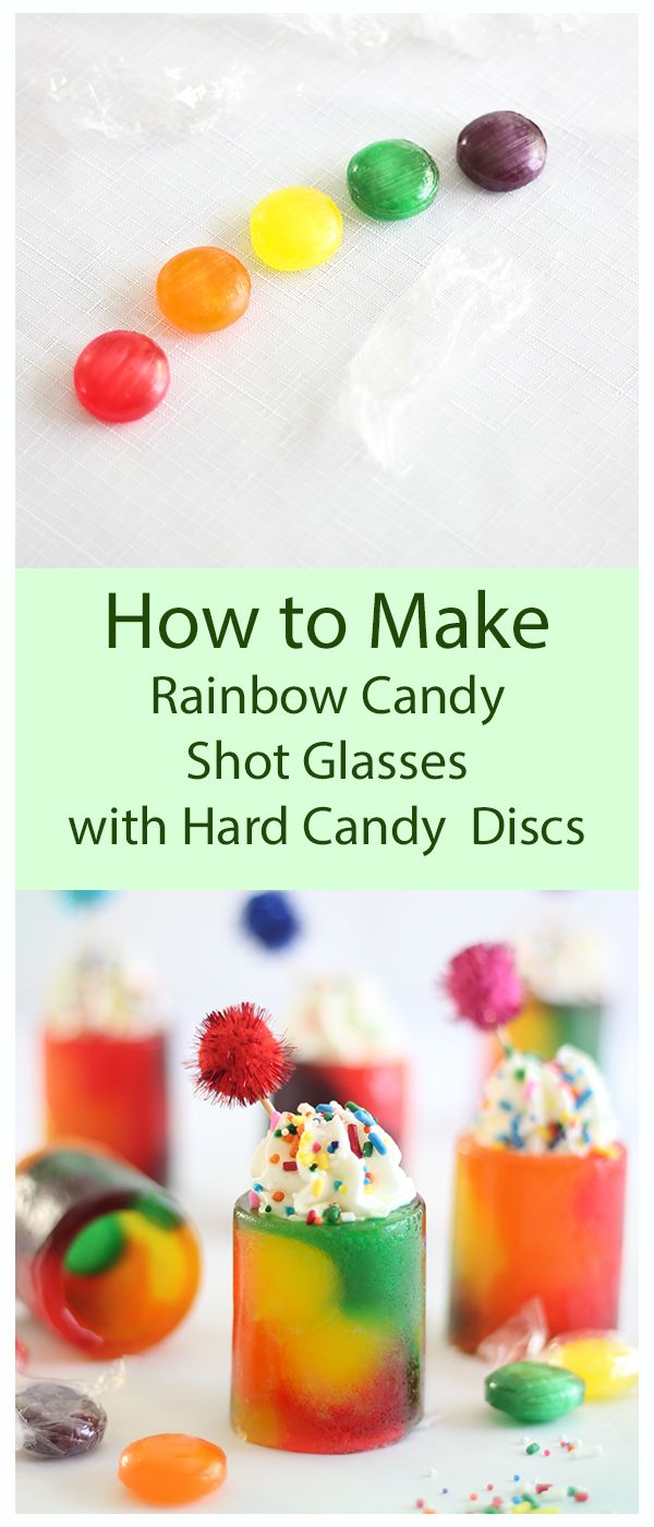 Rainbow Candy Glasses | The recipe calls them shot glasses but you could use them for something other than alcohol.