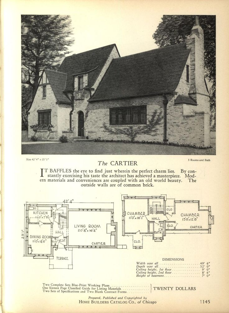 The CARTIER - Home Builders Catalog: plans of all types of small homes by Home Builders Catalog Co.  Published 1928