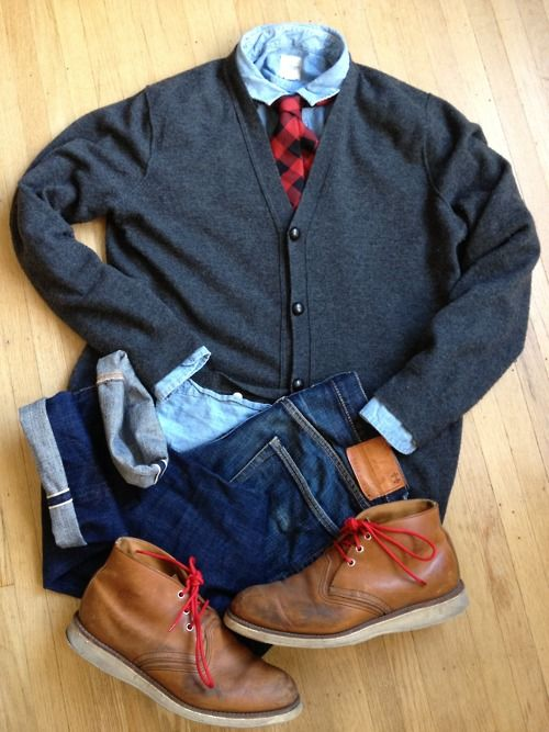 Boot: Red Wing Chukka, Jeans: Dope and Drakkar, Shirt: Lands' End Canvas chambray 'work' shirt, Tie: Lands' End Canvas, Sweater: J Crew