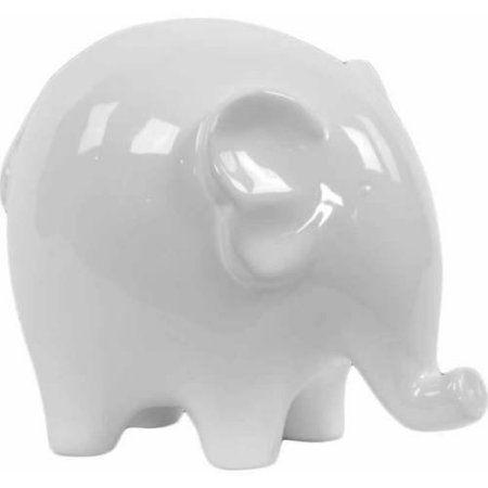 Urban Trends Collection: Ceramic Elephant Figurine, Gloss Finish, White