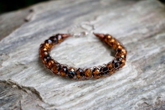 Metallic French Knit Copper & Black Bracelet by nZuriArtDesigns