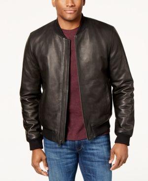 Cole Haan Men's Genuine Leather Varsity Jacket - Black