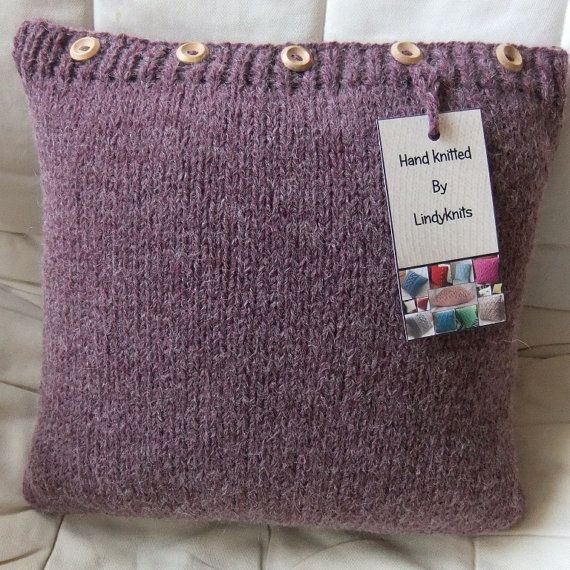 Hand Knitted Plum Cable Cushion / Pillow Cover