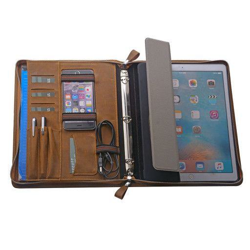 Material: Crazy Horse Leather Dimensions: 13 x 10 x 1.3 inches Weight: 1,61lb Color: Brown SKU:  150464MW-iPad-Pro-10.5-Brown  Features of this Organizer 3 Ring Binder Portfolio with Cover Case for 12.9 inch iPad Pro / 9.7 inch iPad Pro / 10.5 inch iPad Pro   ** Made of high quality Crazy Horse Leather  ** Dimensions: approximately 13 x 10 x 1.3 inches (33 x 25.4 x 3.3 cm)  ** Built-in removable folding cover case for 12.9 inch iPad Pro / 9.7 inch iPad Pro / 10.5 inch iPad...