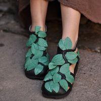 2015 het voorjaar en de zomer sandalen met de hand gemaakt echt leer vintage bloem uitsparing wiggen losse casual schoenen vrije verschepen