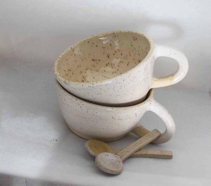 White glazed ceramic latte mugs and spoons - Stinging Nettle Studio