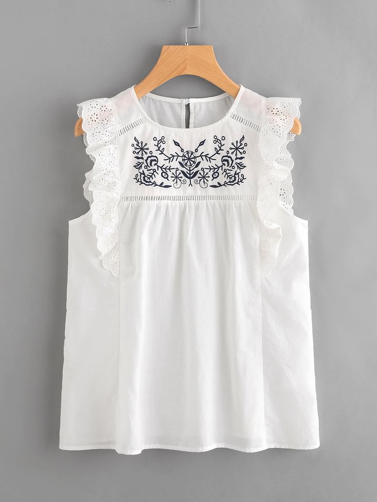 Shop Embroidered Yoke Eyelet Frill Trim Shell Top online. SheIn offers Embroidered Yoke Eyelet Frill Trim Shell Top & more to fit your fashionable needs.