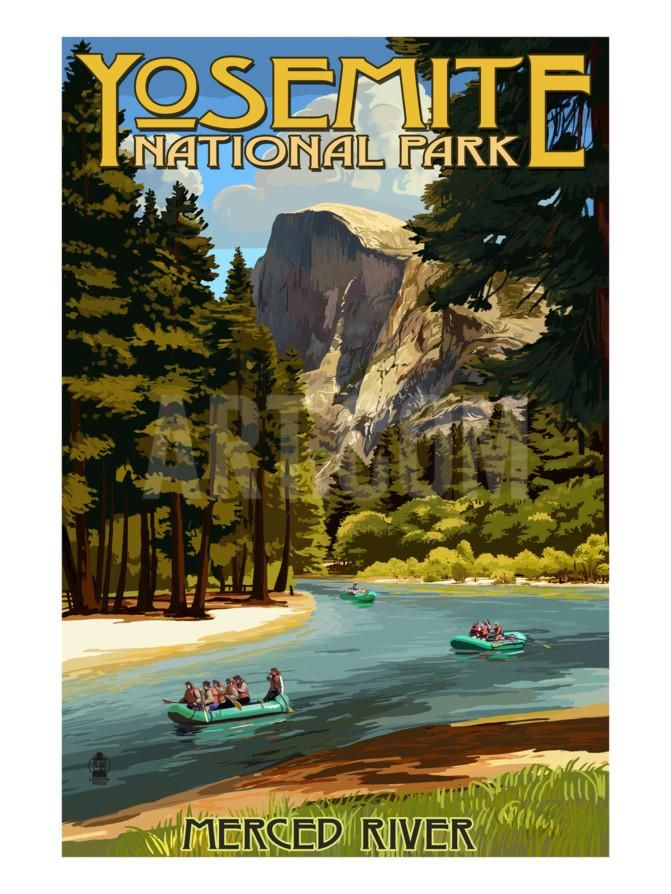 California Map Sequoia National Park%0A Merced River Rafting  Yosemite National Park  California Art Print by  Lantern Press at Art