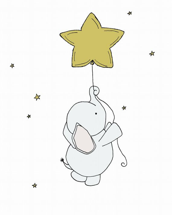 Elephant Nursery Art Print -- Nursery Decor -- Elephant Art Print -- Baby Elephant Star Balloon -- Children Art, Kids Wall Art, Custom White