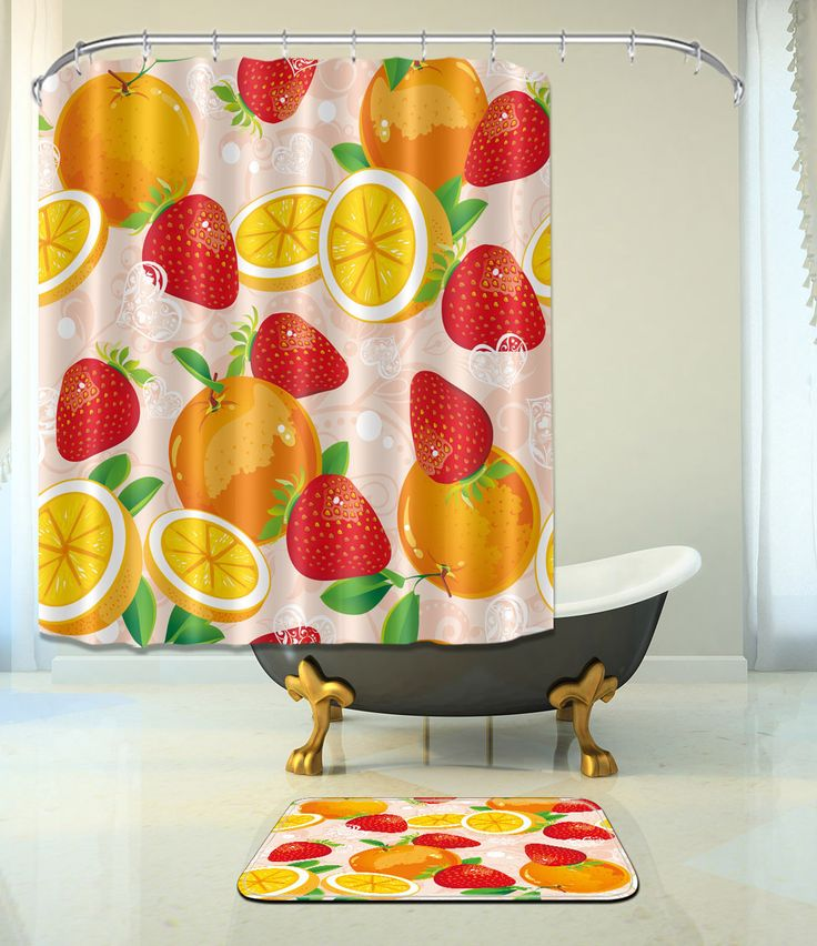 "Fruits Bathroom Mat Waterproof Polyester Fabric Shower Curtain 12 Hooks 72X72"" 0"