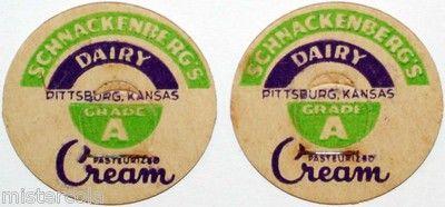 Vintage Milk Bottle Caps Schnackenbergs Dairy Cream Pittsburg Kansas Excellent | eBay