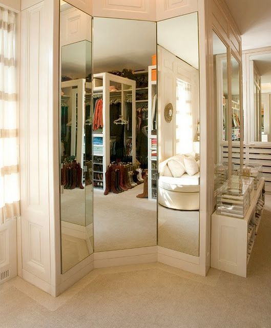 3-way mirror in closet.