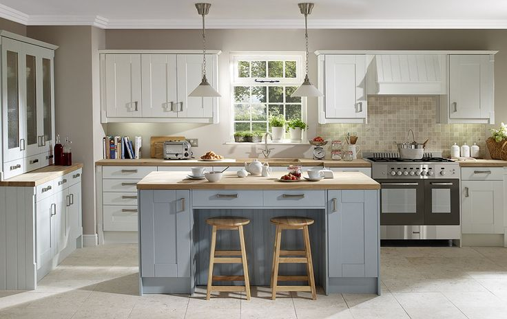 white and duck egg blue walls kitchen - Google Search ...