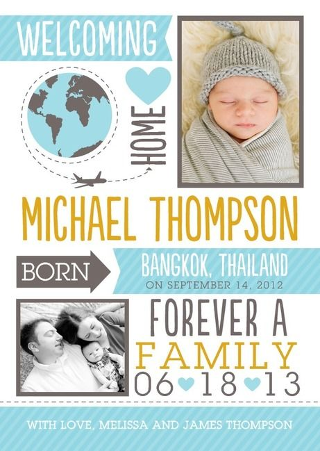 Adorable international adoption announcement from tinyprints