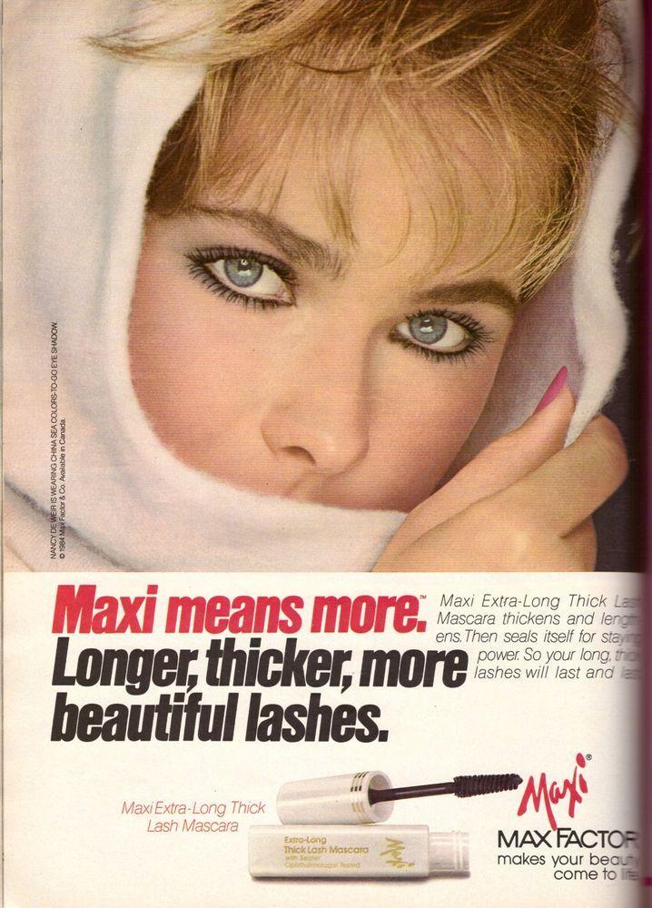 1984 Max Factor Cosmetics Nancy Deweir Print Advertisement Retro AD Vintage 80s #MaxFactor