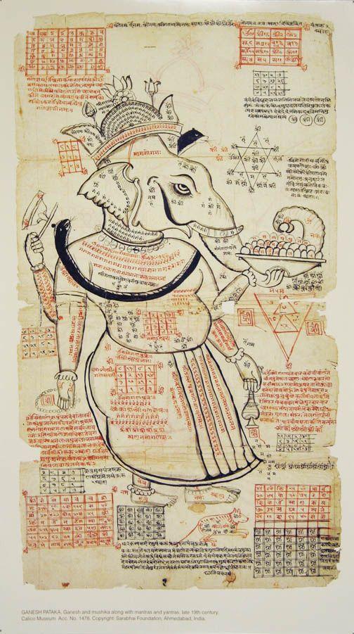 sombhatt:  Ganesh andMushikaalong with mantra and yantra, late 19th century.