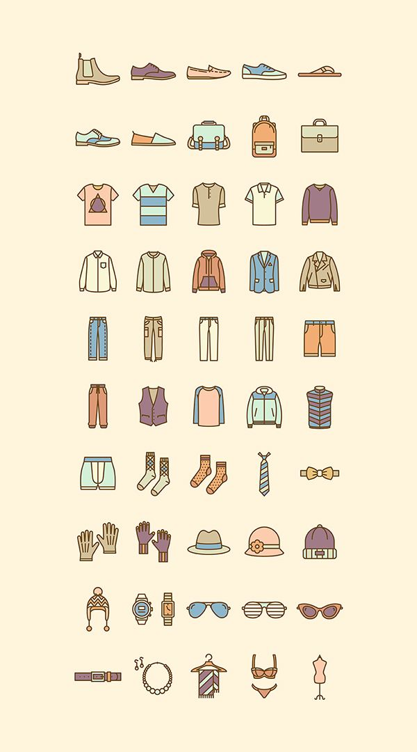 Fashion flat icon set by selinozgur https://www.behance.net/selinozgur