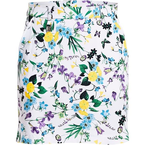 Rohnisch Kia Skort (£60) ❤ liked on Polyvore featuring activewear, activewear skirts, women, yellow, floral skort and golf skirts
