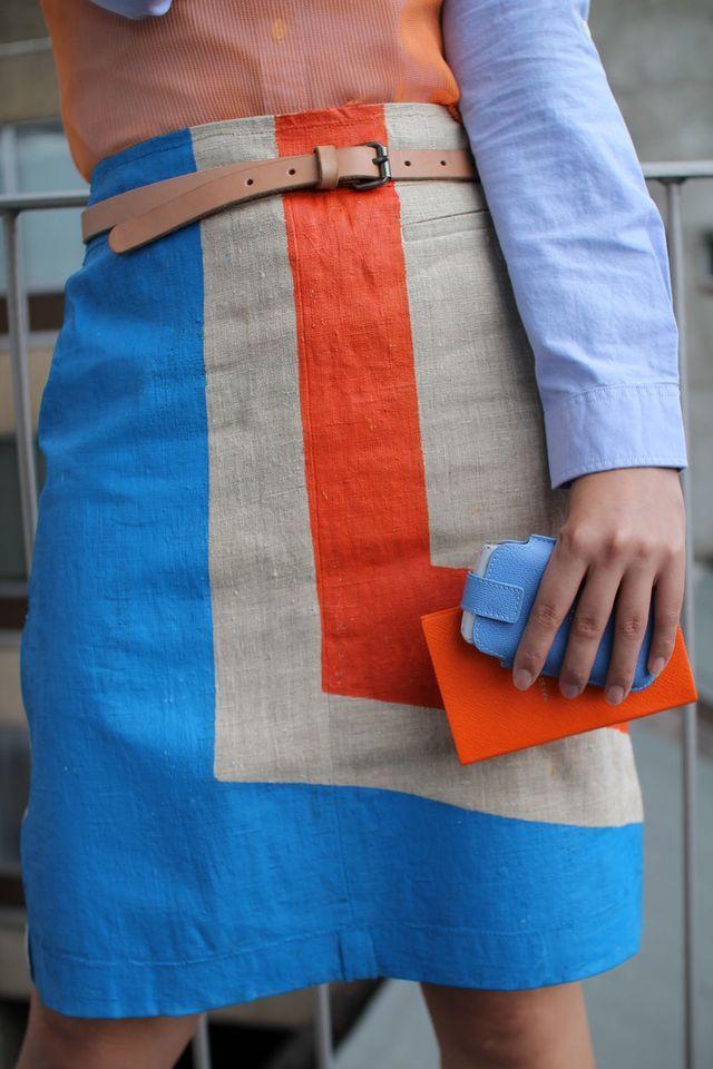 : Orange Skirts, Handmade Skirts, Skirts Style, Paintings Skirts, Diy Fashion, Old Linens, Diy Gifts, Diy Paintings, Colors Blocks