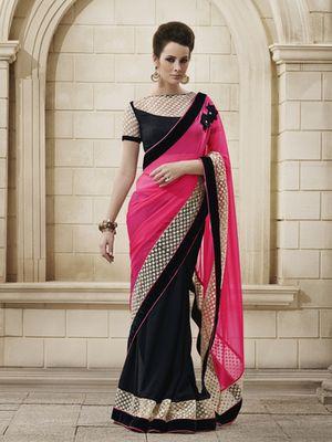 Awesome pink georgette designer saree