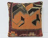 orange kilim pillow orange throw pillow orange pillow cover orange pillow case orange cushion cover orange decorative pillow orange 21602