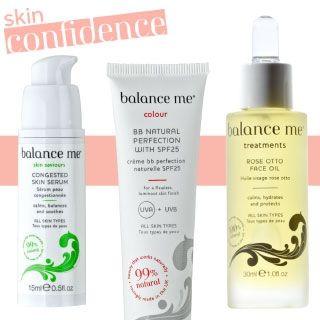 Innovative naturlige ingredienser får du i Balance me's ny ansigts produkter. Prøv den enestående Congested serum som er perfekt til olieret hud og fjerner uønskede pletter og urenheder