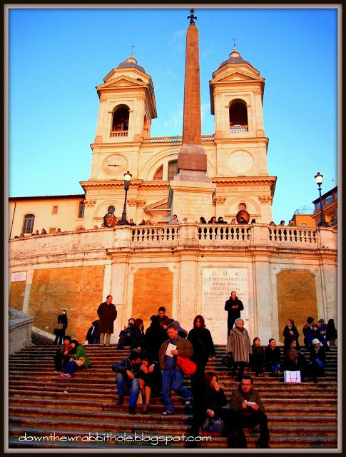 """Climb the Spanish Steps in Rome and check out the incredible view. Find out more at """"Down the Wrabbit Hole - The Travel Bucket List"""". Click the image for the blog post."""