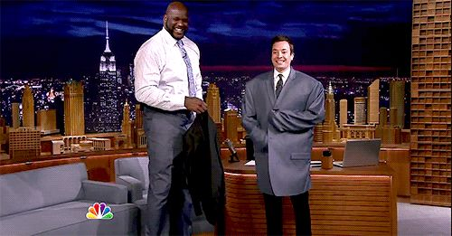 Jimmy Fallon Put On Shaquille O'Neal's Jacket And Turned Into A Tiny Little Man Toy