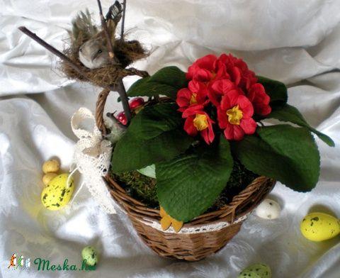 Meska - Húsvéti asztaldísz, kosár , madár, fészek ,gomba, kankalin TotiDecor kézművestől