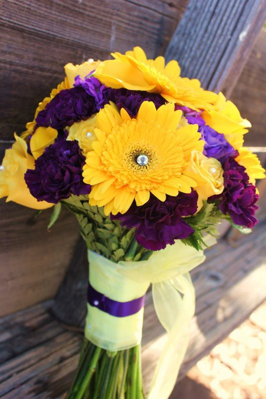 114 best wedding possibilities images on pinterest nail scissors purple and yellow wedding flower arrangements mightylinksfo