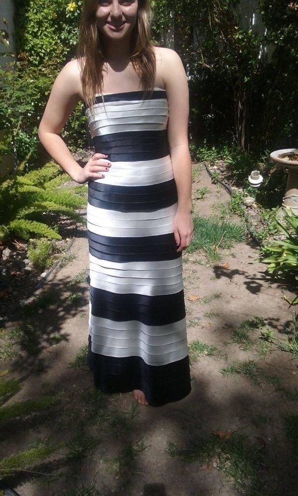 Billie bandeau stripe prom dress