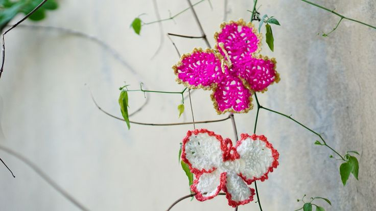 Butterfly shaped crochet coasters   #merendacrochet #coaster #butterfly #crochet #fuschia
