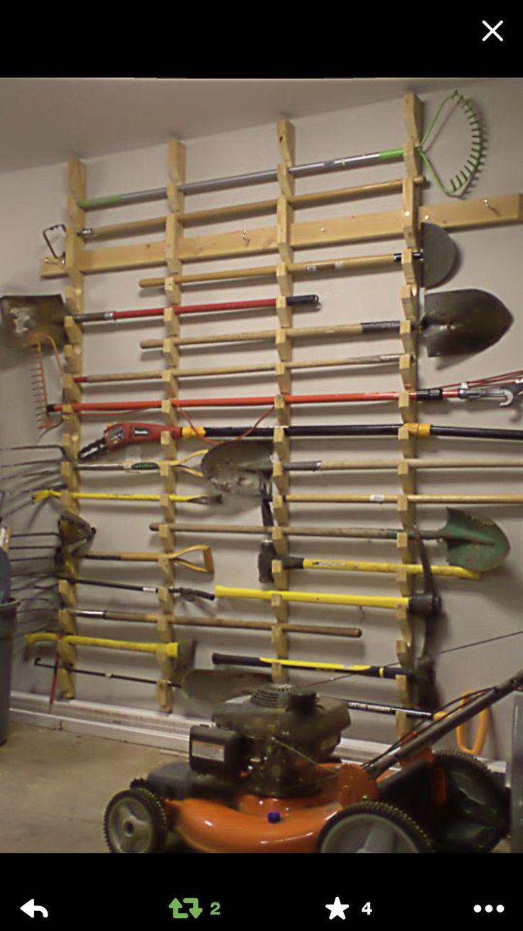 Garage tool storage wall.